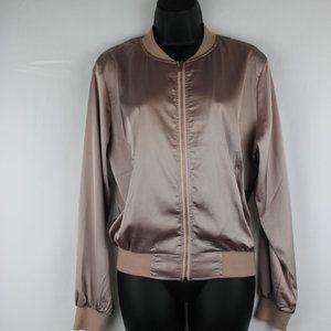 Satin style light bomber jacket